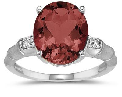 3.97 Carat Garnet and Diamond Ring in 14K White Gold