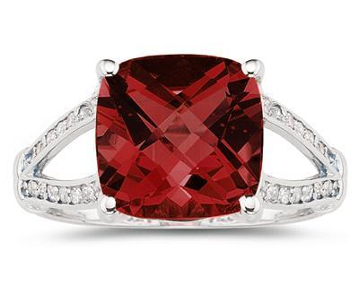 Cushion Cut Garnet and Diamond Ring 10k White Gold
