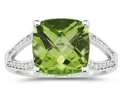 Cushion Cut Peridot and Diamond Ring 10k White Gold
