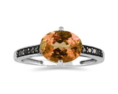 Citrine and Black Diamond Ring in 10K White Gold