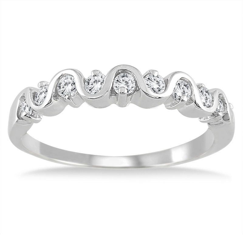 1/2 Carat TW Diamond Wave Band in 10K White Gold