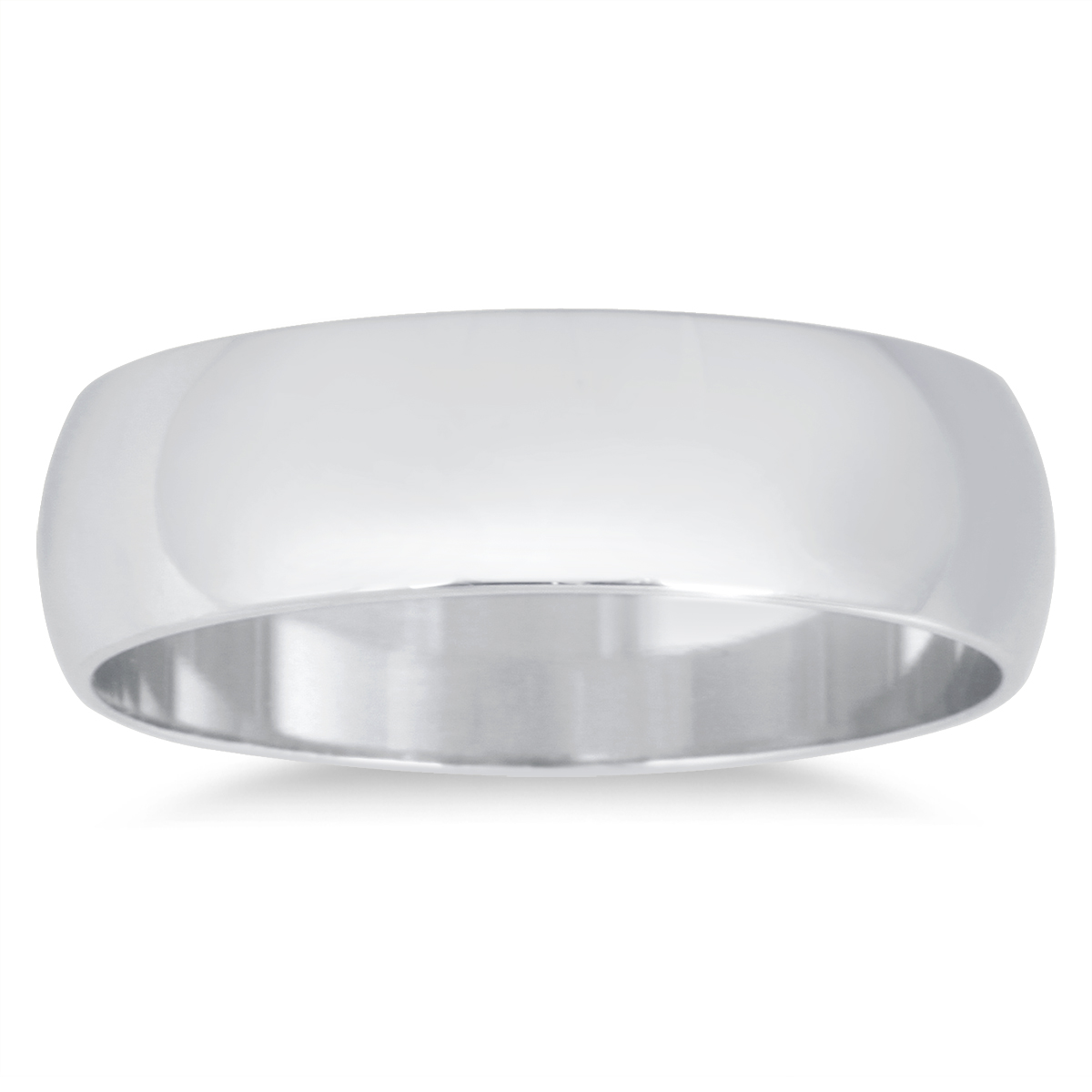 5mm Domed Wedding Band in 14K White Gold