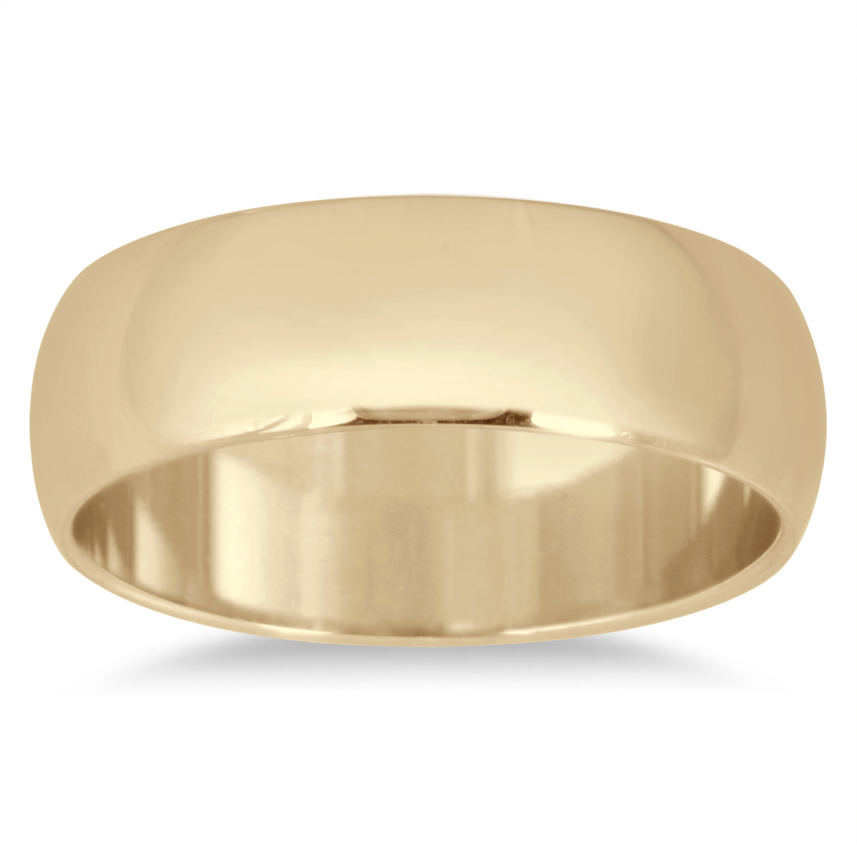 6mm Domed Comfort Fit Wedding Band in 14K Yellow Gold