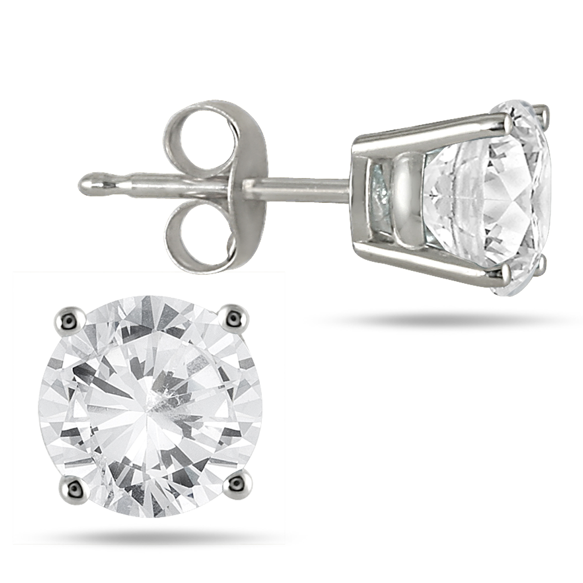 3/4 Carat Round Diamond Solitaire Earrings in 14K White Gold (H-I Color)